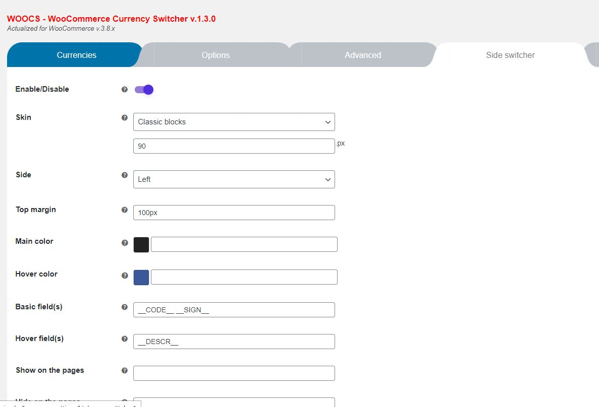 Woocommerce woocs side switcher