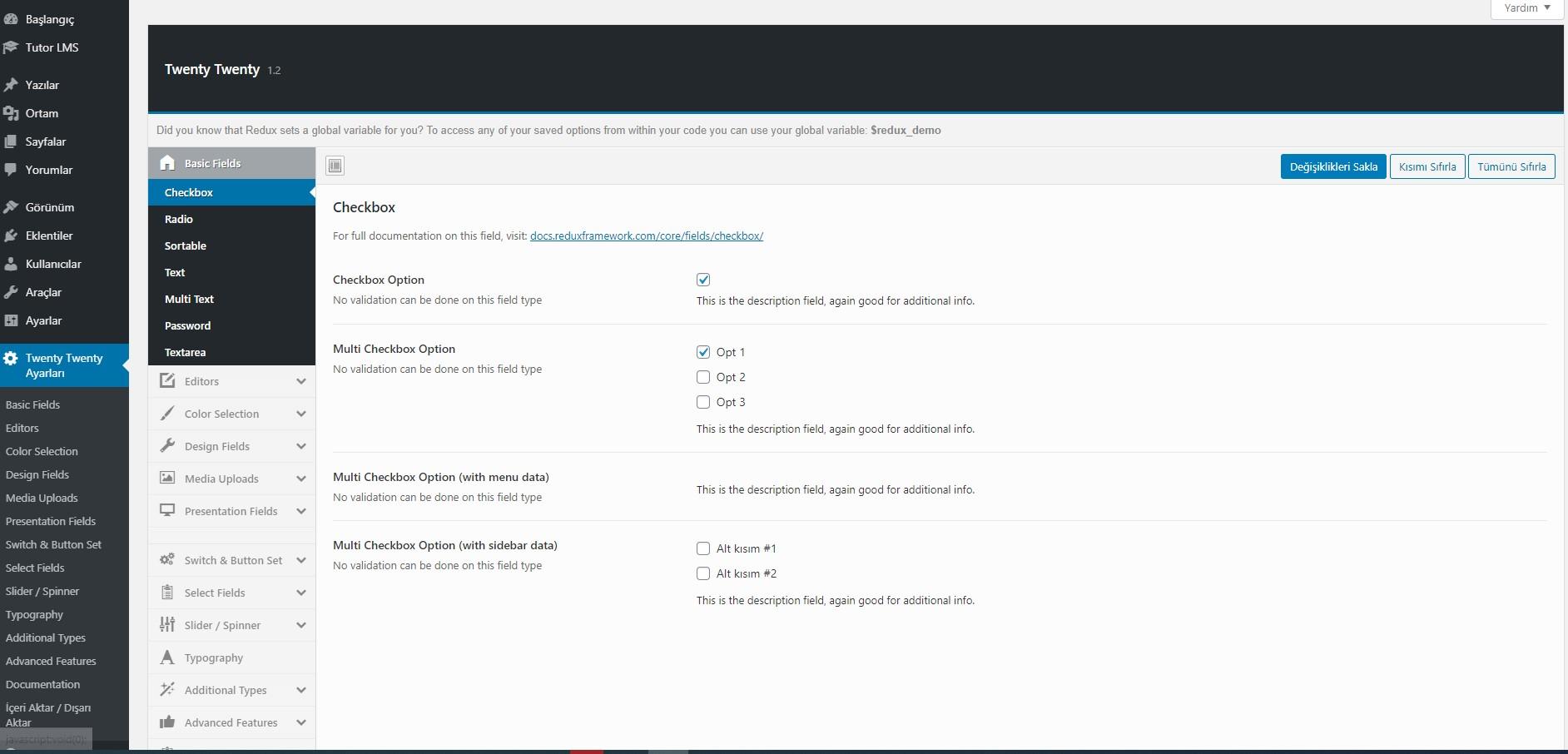 Wordpress tema ayarları redux framework