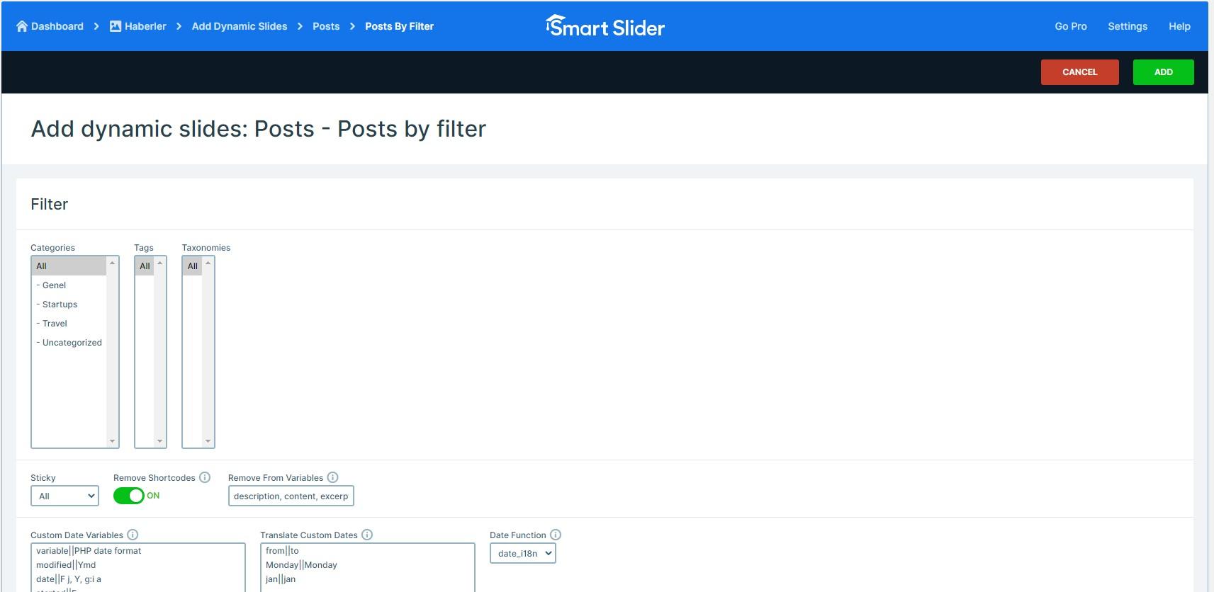 Wordpress haber dynamic slides